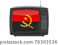 Angolan Television concept. TV set with flag of Angola. 3D rendering 76303536
