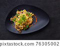 Bulgur with mushrooms and vegetables, vegan food 76305002