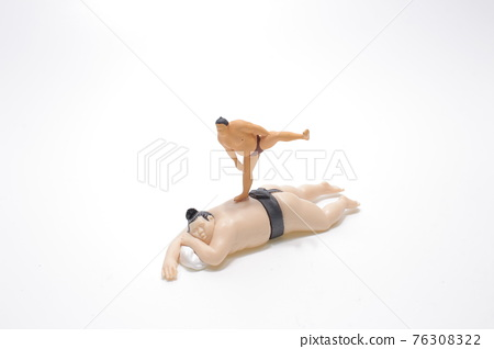 a figure of Sumo wrestler in traditional rack 76308322