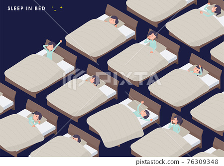flat type medical staff woman_Sleep-in-bed 76309348