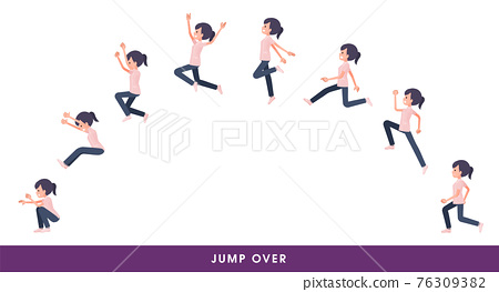 flat type medical staff woman_jump-over 76309382
