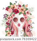 Vector illustration of a sunglasses girl with floral headdress in spring for Wedding, anniversary, birthday party. Design for banner, poster, card, invitation and scrapbook 76309422