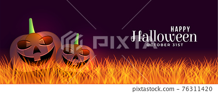 scary halloween banner with laughing pumpkins design 76311420