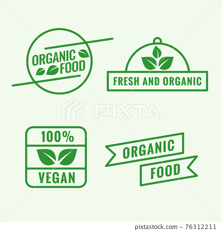 set of organic food labels in line style 76312211