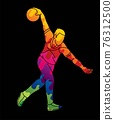 Bowling Sport Male Player Pose Cartoon Graphic Vector 76312500