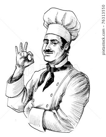 Happy chef showing okay sign. Ink black and white drawing 76313550