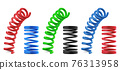 Metal springs, realistic colorful isolated coils 76313958