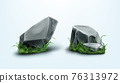 Rocks parts, boulders and gray stones with grass 76313972