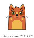 Cute Cat Face Icon. Cartoon Style on White Background Vector 76314921