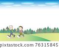 senior, husband and wife, walking 76315845