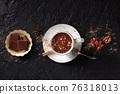 Hot chocolate with cinnamon, overhead flat lay shot 76318013