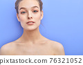 tender skin, cleanliness concept. attractive shirtless pretty woman looking at camera posing 76321052