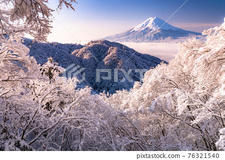 《山梨縣》富士山和樹上的霧rim ・日本的冬季風景 76321540