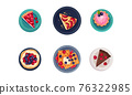 Desserts with Gaufre or Waffle, Tartlet and Cake Served on Plate Vector Set 76322985