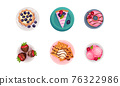 Desserts with Gaufre or Waffle, Tartlet and Cake Served on Plate Vector Set 76322986