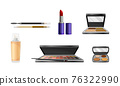 Decorative Cosmetics or Color Cosmetics with Eye Shadow and Facepowder Vector Set 76322990