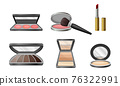 Decorative Cosmetics or Color Cosmetics with Eye Shadow and Facepowder Vector Set 76322991