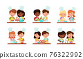 Happy Boy and Girl Chef Characters Wearing Apron and Hat Cooking Pizza and Baking Pastry Together Vector Set 76322992