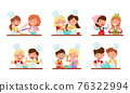 Happy Boy and Girl Chef Characters Wearing Apron and Hat Kneading Dough and Dressing Cake with Strawberry Together Vector Set 76322994