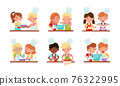 Happy Boy and Girl Chef Characters Wearing Apron and Hat Cooking Pizza and Boiling Soup Together Vector Set 76322995