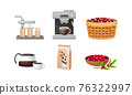 Coffee Production Equipment and Coffea Plant Branch and Fruit Harvesting Vector Set 76322997