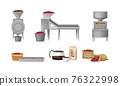 Coffee Production Equipment and Coffea Plant Fruit Harvesting Vector Set 76322998
