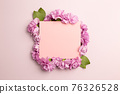 Memo pad with carnation flowers on pink background. flat lay, top view, copy space 76326528