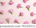 Pink carnation flowers on pink background. flat lay, top view 76326531