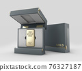 3d Illustration of box with gold bar, gold in the cardboard box. Clipping path included 76327187