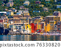 view of picturesque colorful Camogli village in Liguria on Italian Riviera with palaces painted 76330820