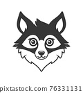Cute Fox Face Cartoon Style Logo on White Background. Vector 76331131