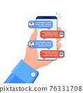 Man chatting with chat bot on smartphone. 76331708