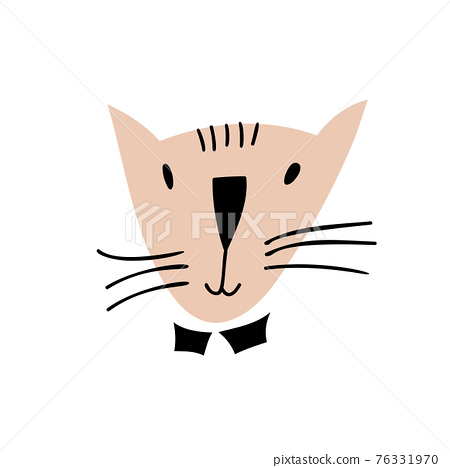 Cute hand drawn Cat face Character Vector Design. Scandinavian illustration isolated on a white background. Design element of t-shirt, home textiles, wrapping paper, children textiles 76331970