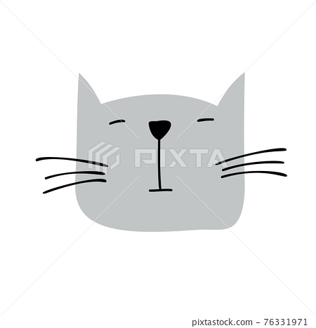 Cute hand drawn Cat face Character Vector Design. Scandinavian illustration isolated on a white background. Design element of t-shirt, home textiles, wrapping paper, children textiles 76331971