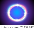 Shiny neon frame with sparkles and colorful glow on dark blue background. Round frame with flares. Circle shape. 76332587