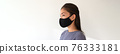 Asian woman wearing black fabric face mask. Casual lifestyle of young people during coronavirus pandemic. Portrait of ethnic girl model with protective facial covering banner. 76333181