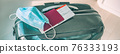Travel during covid-19 with surgical face mask and tourist luggage panoramic banner. Plane ticket with passport. 76333193
