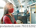 Woman wearing face mask inside public transport bus commuting to work. Asian girl passenger sitting with red facial fabric covering. 76333202