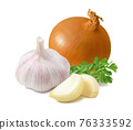 Fresh onion, garlic cloves and parsley isolated on white background. 76333592