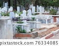 Islamic graveyard background. Muslim cemetery. Turkey, Europe. 76334085