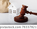 Real estate sale auction concept. Gavel and house model 76337821