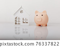 Piggy bank and house model. Savings and banking concept 76337822