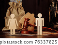 Bag of money, people and the judge's hammer. The concept of divorce 76337825