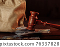 Money bag and judge's gavel close-up in dollar banknotes 76337828