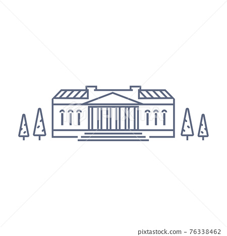 Museum vector icon - art museum or theatre simple pictogram in linear style on white background. Vector illustration. 76338462