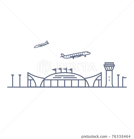 Airport line vector icon - airport terminal building and planes linear pictogram isolated on white background. Vector illustration. 76338464