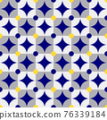 Vector Retro Circles and Square Pattern, Blue and Gray with Neon Yellow Spots. 76339184