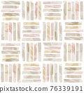 Vector Pink and Beige Watercolor Drawing Stipes Seamless Pattern. Square Tiles. 76339191