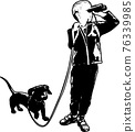boy holding binoculars and his dog silhouette - vector 76339985