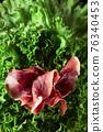 Prosciutto and fresh lettuce. 76340453